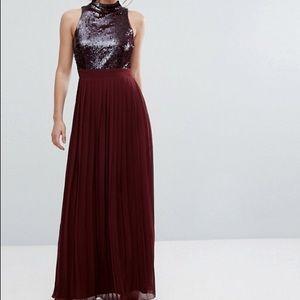 Burgundy sequin maxi dress